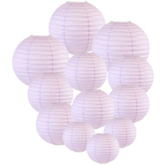 Decorative Round Chinese Paper Lanterns Assorted Sizes (12pcs, Lavender) - Premier