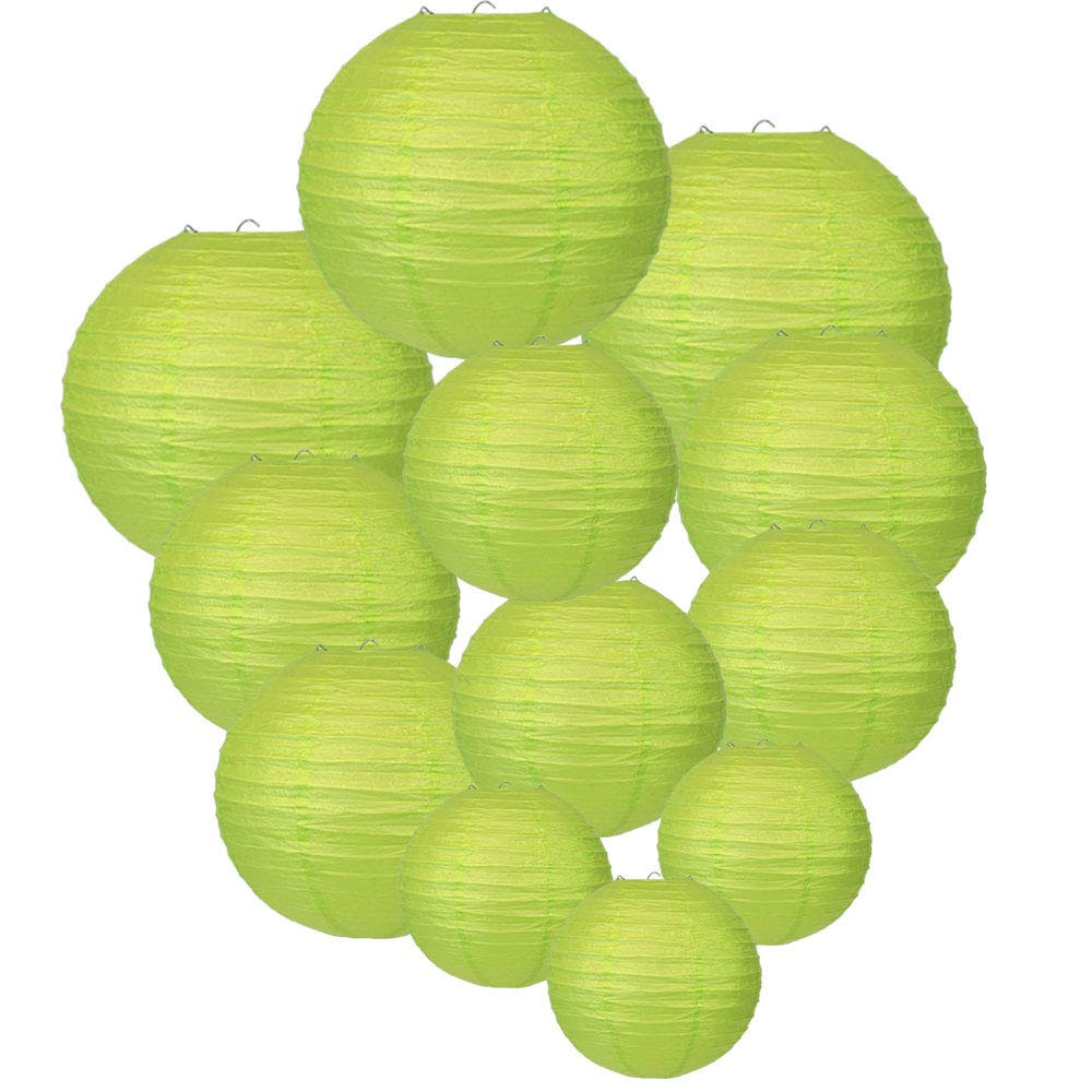 Decorative Round Chinese Paper Lanterns Assorted Sizes (12pcs, Light Green) - Premier