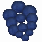 Decorative Round Chinese Paper Lanterns Assorted Sizes (12pcs, Navy Blue) - Premier