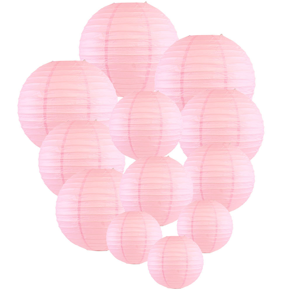 Decorative Round Chinese Paper Lanterns Assorted Sizes (12pcs, Pale Pink) - Premier