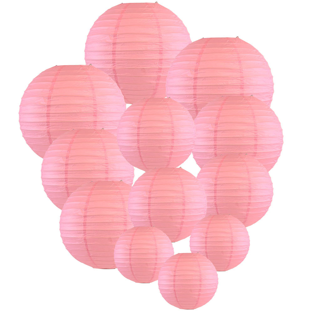 Decorative Round Chinese Paper Lanterns Assorted Sizes (12pcs, Pink) - Premier