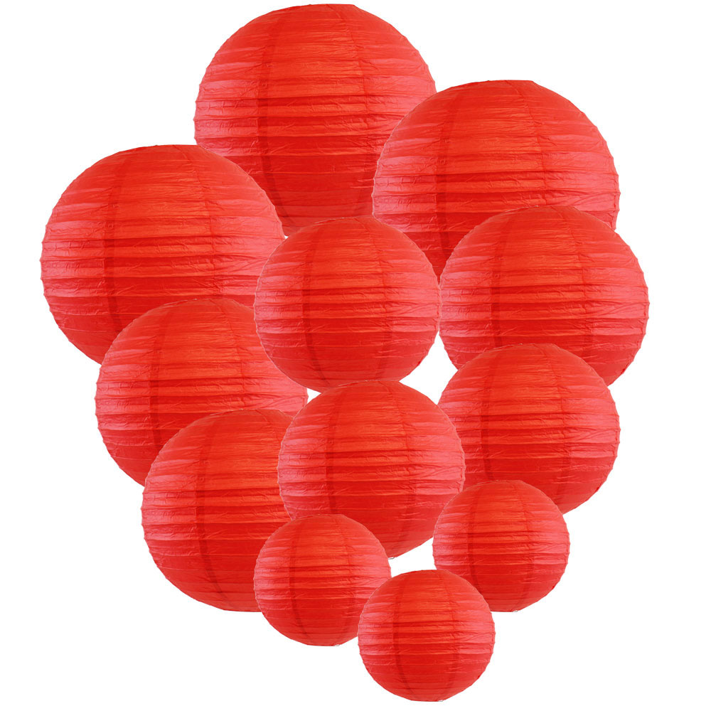 Decorative Round Chinese Paper Lanterns Assorted Sizes (12pcs, Red) - Premier