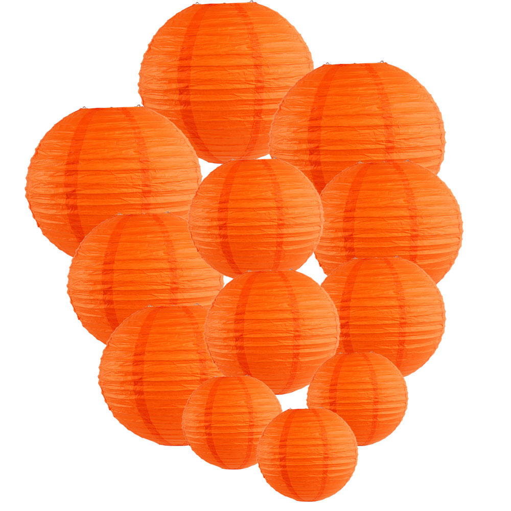 Decorative Round Chinese Paper Lanterns Assorted Sizes (12pcs, Red Orange) - Premier