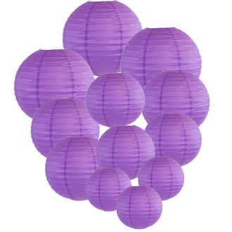 Decorative Round Chinese Paper Lanterns Assorted Sizes (12pcs, Royal Purple) - Premier