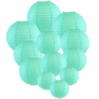 Decorative Round Chinese Paper Lanterns Assorted Sizes (12pcs, Seafoam) - Premier