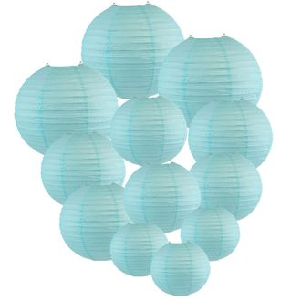 Decorative Round Chinese Paper Lanterns Assorted Sizes (12pcs, Sky Blue) - Premier