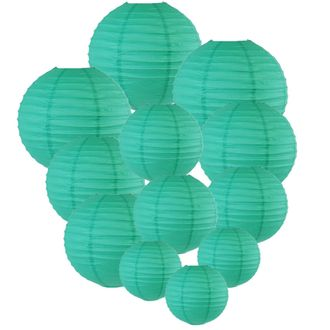 Decorative Round Chinese Paper Lanterns Assorted Sizes (12pcs, Teal Blue Green) - Premier