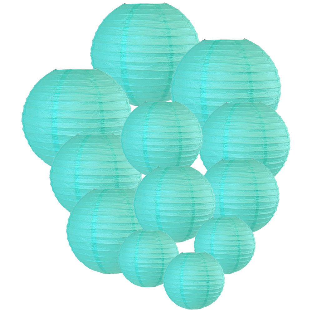 Decorative Round Chinese Paper Lanterns Assorted Sizes (12pcs, Turquoise) - Premier