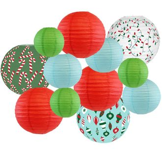 Decorative Round Chinese Paper Lanterns -Christmas Collection (12pcs, Deck The Halls) - Premier