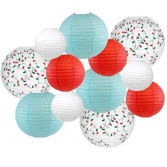 Decorative Round Chinese Paper Lanterns -Christmas Collection (12pcs, Winter Wonderland) - Premier
