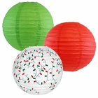 Decorative Round Chinese Paper Lanterns -Christmas Collection (3pcs, Merry & Bright) - Premier