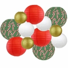 Decorative Round Chinese Paper Lanterns � Designs by Just Artifacts, Christmas Collection (12pcs, Candy Cane Lane) - Premier