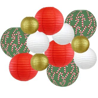 Decorative Round Chinese Paper Lanterns – Designs by Just Artifacts, Christmas Collection (12pcs, Candy Cane Lane) - Premier
