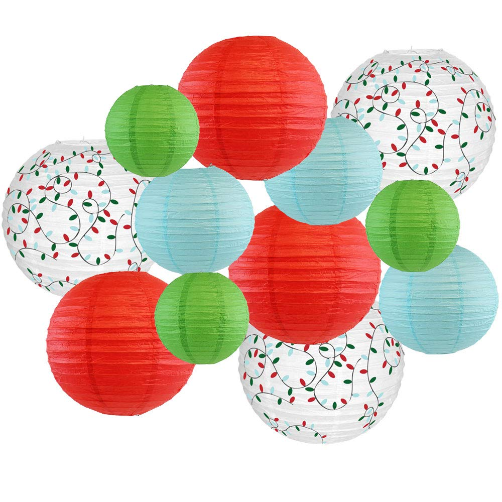 Decorative Round Chinese Paper Lanterns � Designs by Just Artifacts, Christmas Collection (12pcs, Merry & Bright) - Premier