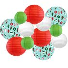 Decorative Round Chinese Paper Lanterns � Designs by Just Artifacts, Christmas Collection (12pcs, Retro Christmas) - Premier