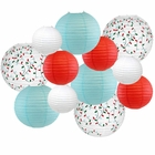 Decorative Round Chinese Paper Lanterns � Designs by Just Artifacts, Christmas Collection (12pcs, Winter Wonderland) - Premier