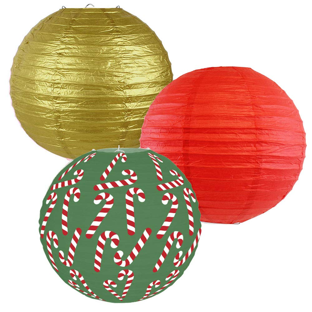 Decorative Round Chinese Paper Lanterns � Designs by Just Artifacts, Christmas Collection (3pcs, Candy Cane Lane) - Premier