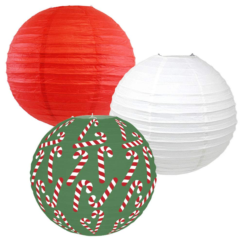 Decorative Round Chinese Paper Lanterns � Designs by Just Artifacts, Christmas Collection (3pcs, Classic Christmas) - Premier