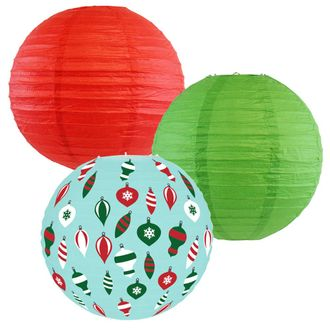 Decorative Round Chinese Paper Lanterns – Designs by Just Artifacts, Christmas Collection (3pcs, Holly Jolly) - Premier
