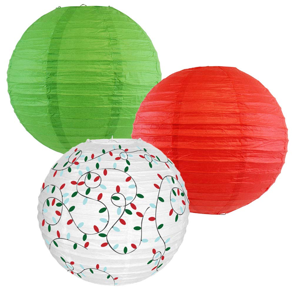 Decorative Round Chinese Paper Lanterns � Designs by Just Artifacts, Christmas Collection (3pcs, Merry & Bright) - Premier