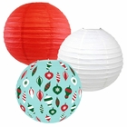 Decorative Round Chinese Paper Lanterns � Designs by Just Artifacts, Christmas Collection (3pcs, Retro Christmas) - Premier