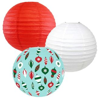 Decorative Round Chinese Paper Lanterns – Designs by Just Artifacts, Christmas Collection (3pcs, Retro Christmas) - Premier
