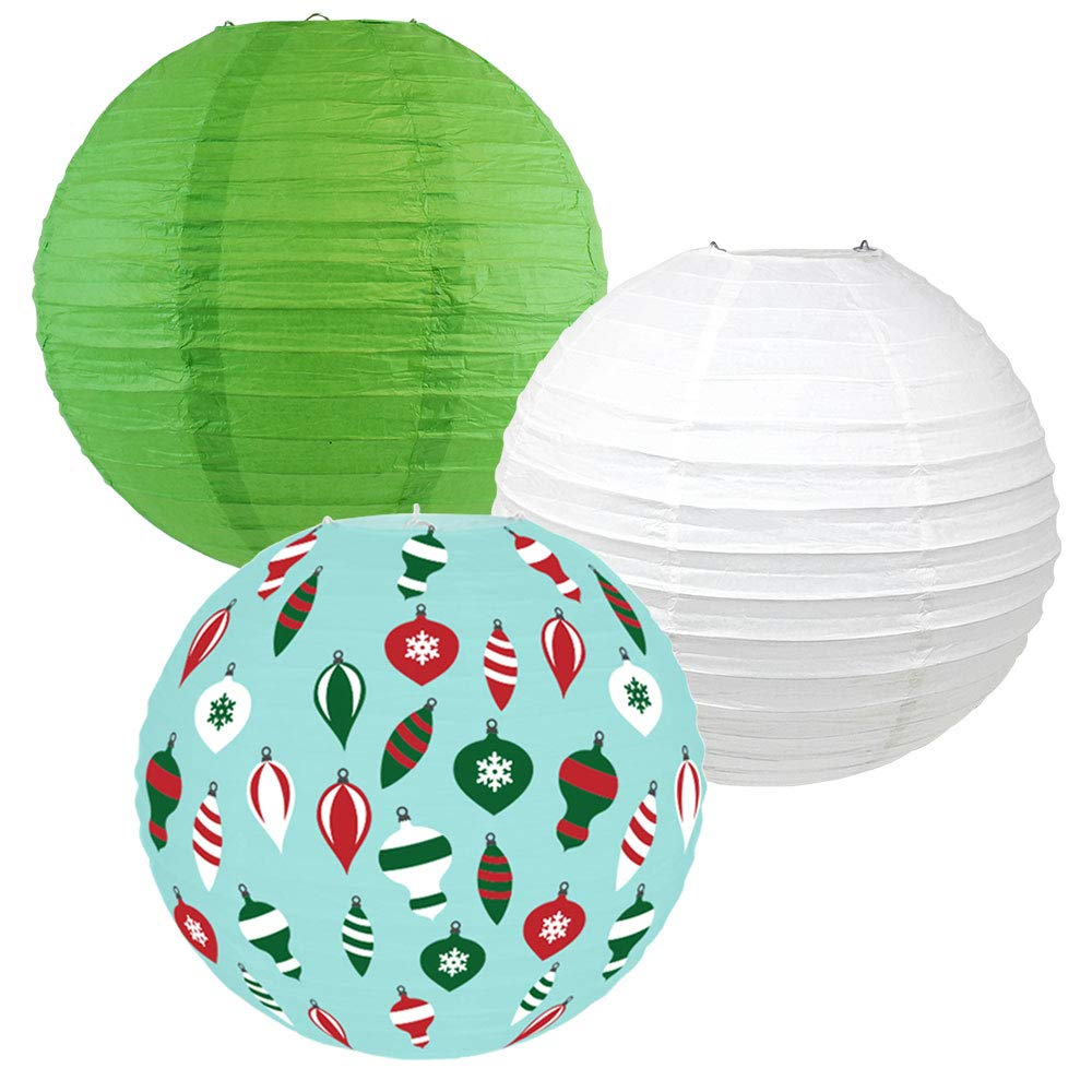 Decorative Round Chinese Paper Lanterns � Designs by Just Artifacts, Christmas Collection (3pcs, Vintage Ornaments) - Premier