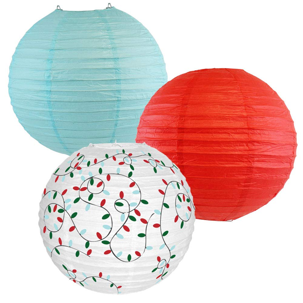 Decorative Round Chinese Paper Lanterns � Designs by Just Artifacts, Christmas Collection (3pcs, Winter Wonderland) - Premier