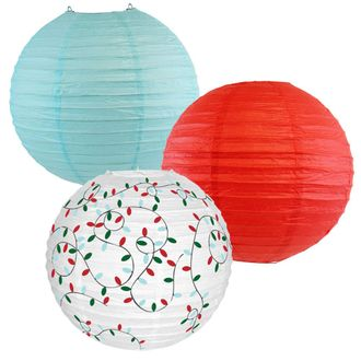 Decorative Round Chinese Paper Lanterns – Designs by Just Artifacts, Christmas Collection (3pcs, Winter Wonderland) - Premier