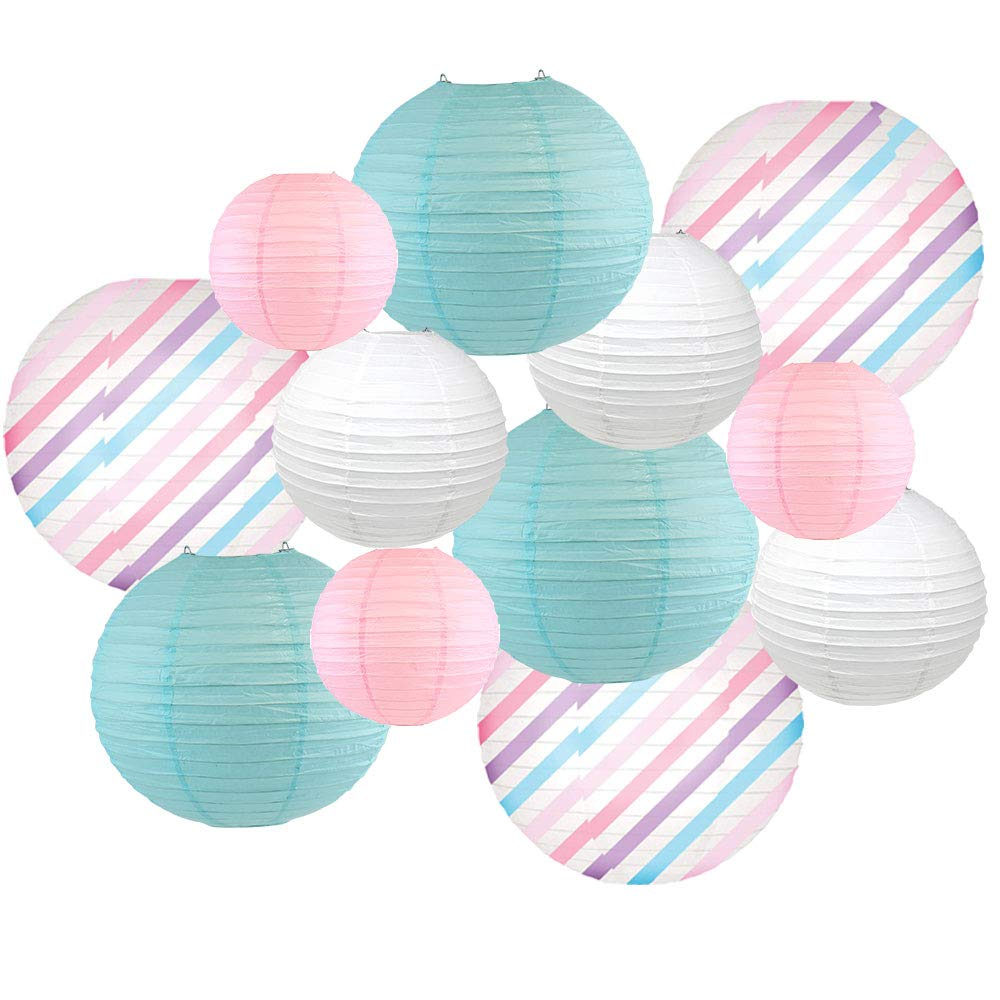 Decorative Round Chinese Paper Lanterns -Magical Collection (12pcs, Lovely Lightning) - Premier