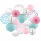 Decorative Round Chinese Paper Lanterns -Magical Collection (18pcs, Rainbow Dreams) - Premier