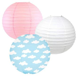 Decorative Round Chinese Paper Lanterns -Magical Collection (3pcs, Enchanted Clouds) - Premier