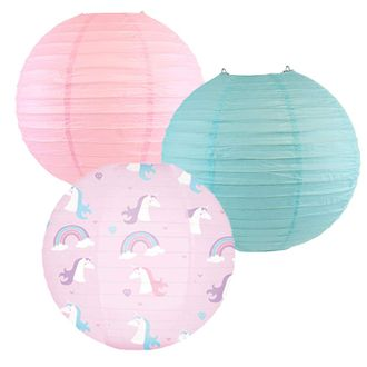 Decorative Round Chinese Paper Lanterns -Magical Collection (3pcs, Rainbow Roxy) - Premier