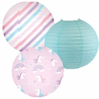 Decorative Round Chinese Paper Lanterns -Magical Collection (3pcs, Unicorn Lightning) - Premier