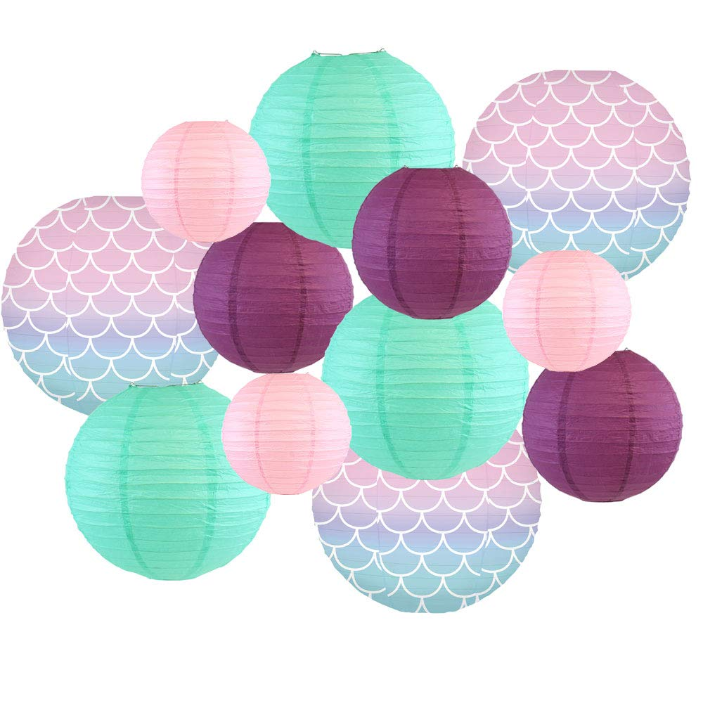Decorative Round Chinese Paper Lanterns -Mermaid Collection (12pcs, Scales and Tales) - Premier