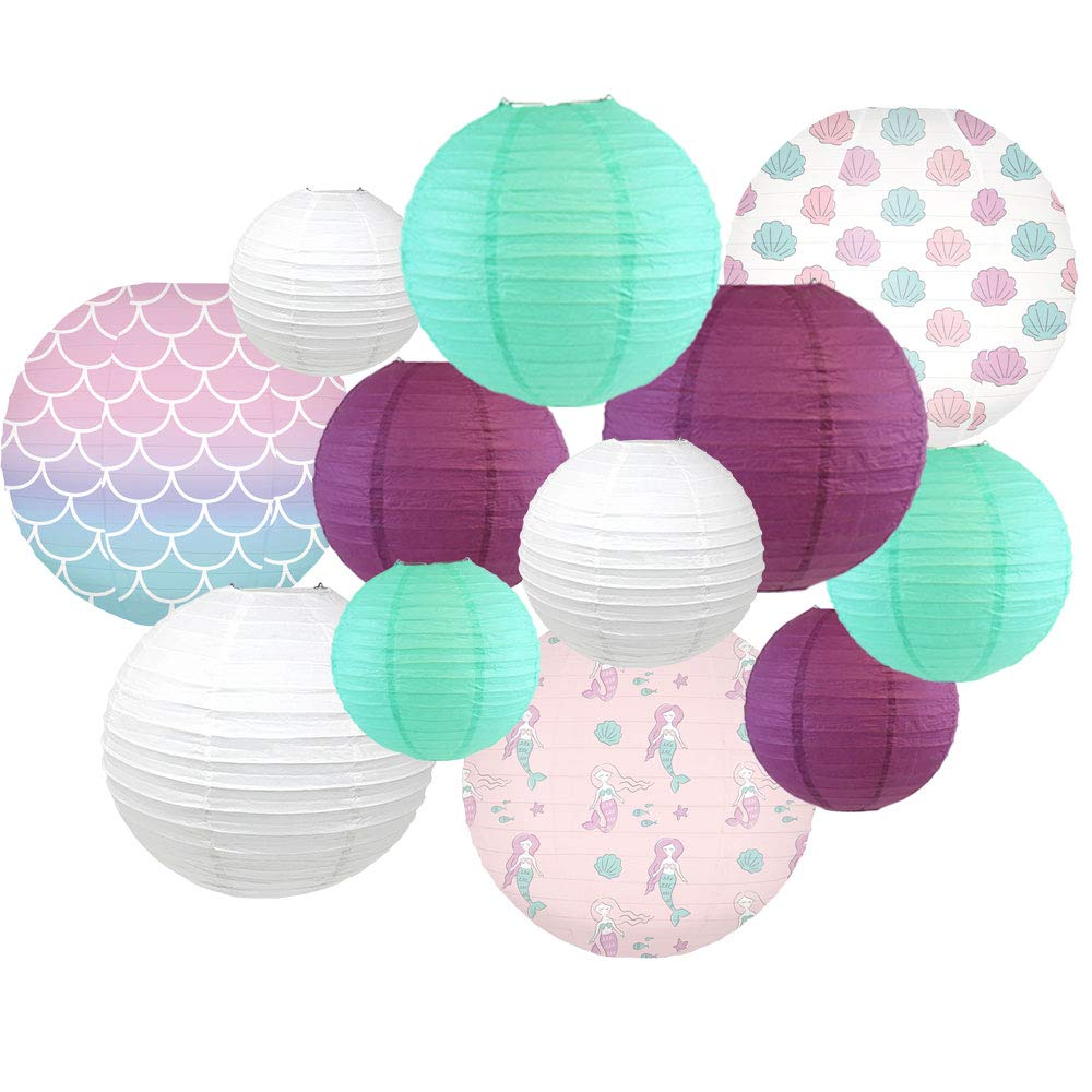 Decorative Round Chinese Paper Lanterns -Mermaid Collection (12pcs, Seashell Wishes) - Premier