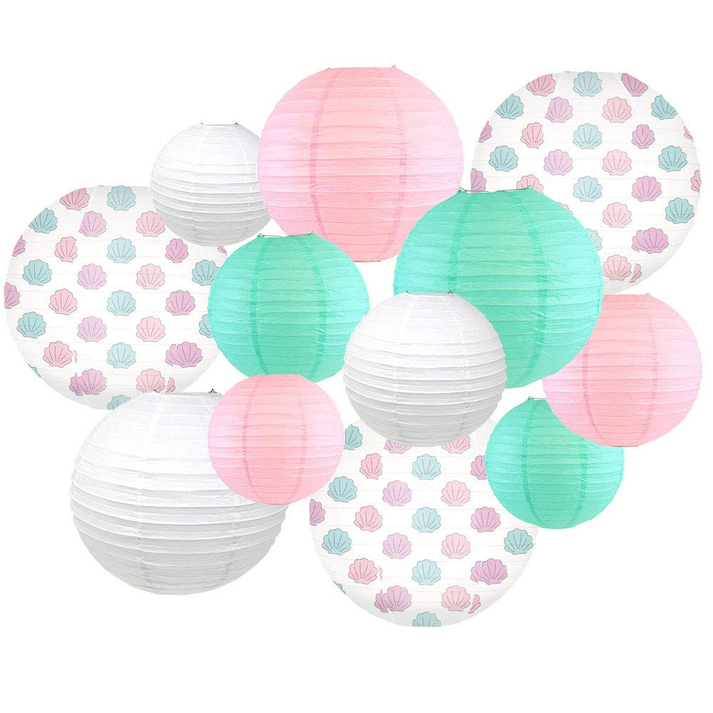 Decorative Round Chinese Paper Lanterns -Mermaid Collection (12pcs, Shell-A-Brate) - Premier