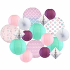 Decorative Round Chinese Paper Lanterns -Mermaid Collection (18pcs, Seashells on The Shore) - Premier