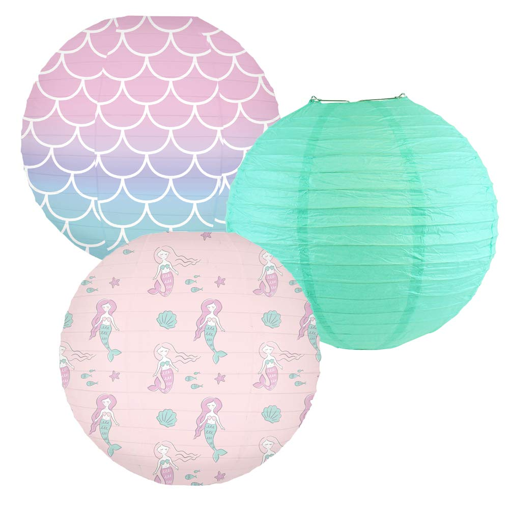 Decorative Round Chinese Paper Lanterns -Mermaid Collection (3pcs, Fin-Tastic Friends) - Premier