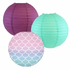 Decorative Round Chinese Paper Lanterns -Mermaid Collection (3pcs, Scales and Tales) - Premier