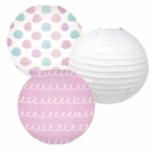 Decorative Round Chinese Paper Lanterns -Mermaid Collection (3pcs, Seashells and Swirls) - Premier