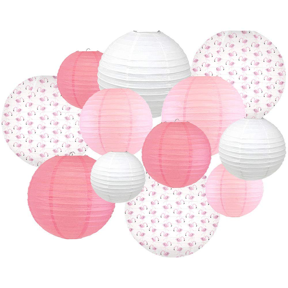 Decorative Round Chinese Paper Lanterns -Paradise Collection (12pcs, Flamingo Frenzy) - Premier