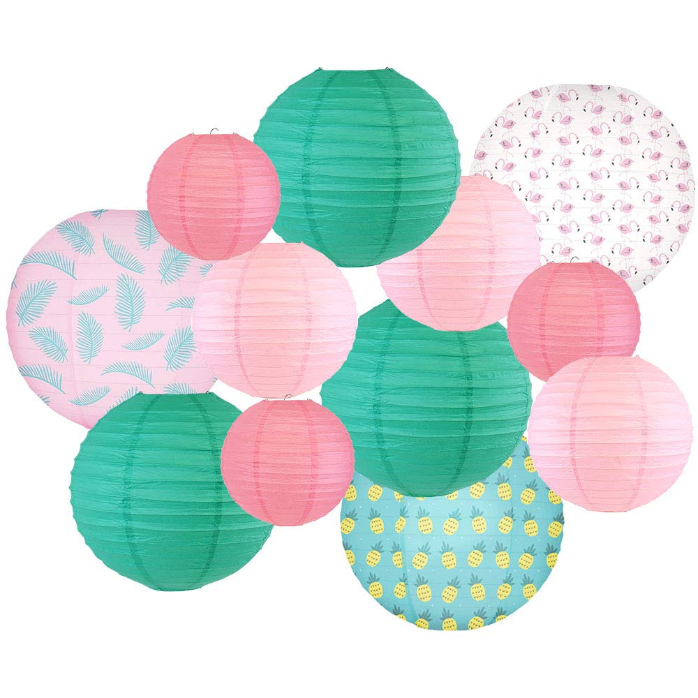 Decorative Round Chinese Paper Lanterns -Paradise Collection (12pcs, Let's Flamingle) - Premier