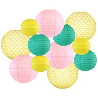 Decorative Round Chinese Paper Lanterns -Paradise Collection (12pcs, Sweet Pineapple) - Premier