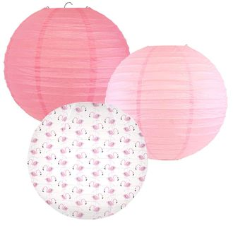 Decorative Round Chinese Paper Lanterns -Paradise Collection (3pcs, Flamingo Frenzy) - Premier