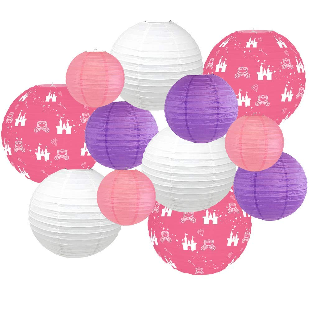 Decorative Round Chinese Paper Lanterns -Princess Collection (12pcs, Charming Castles) - Premier