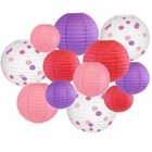 Decorative Round Chinese Paper Lanterns -Princess Collection (12pcs, Confetti Magic) - Premier