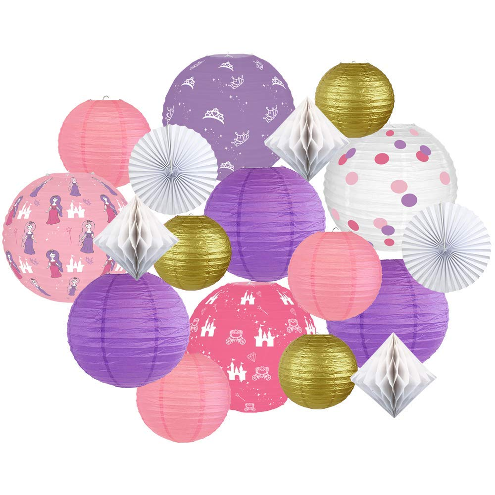 Decorative Round Chinese Paper Lanterns -Princess Collection (18pcs, Happily Ever After) - Premier
