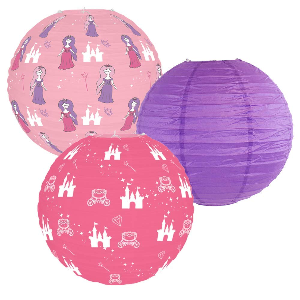 Decorative Round Chinese Paper Lanterns -Princess Collection (3pcs, Enchanted Wishes) - Premier