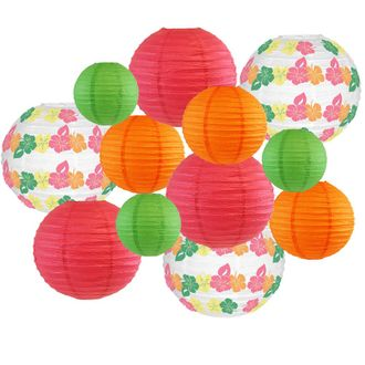 Decorative Round Chinese Paper Lanterns -Tropical Collection (12pcs, Hawaiian Vibes) - Premier